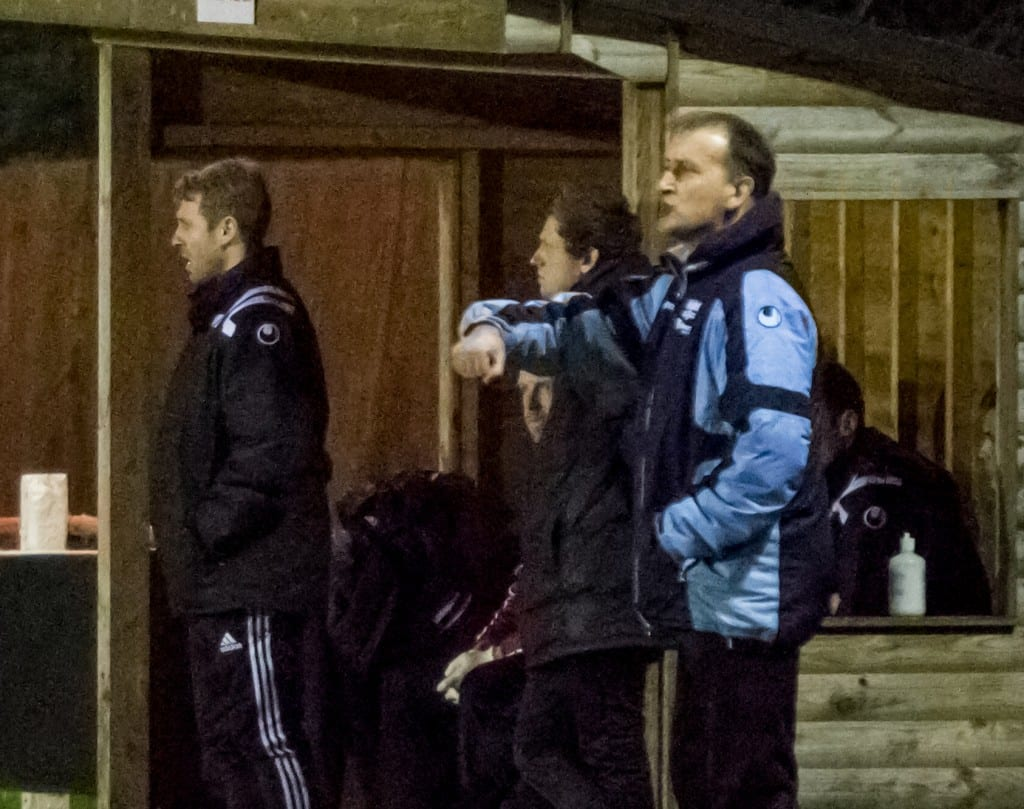 Binfield Football Club manager Roger Herridge (blue). Photo: Neil Graham.