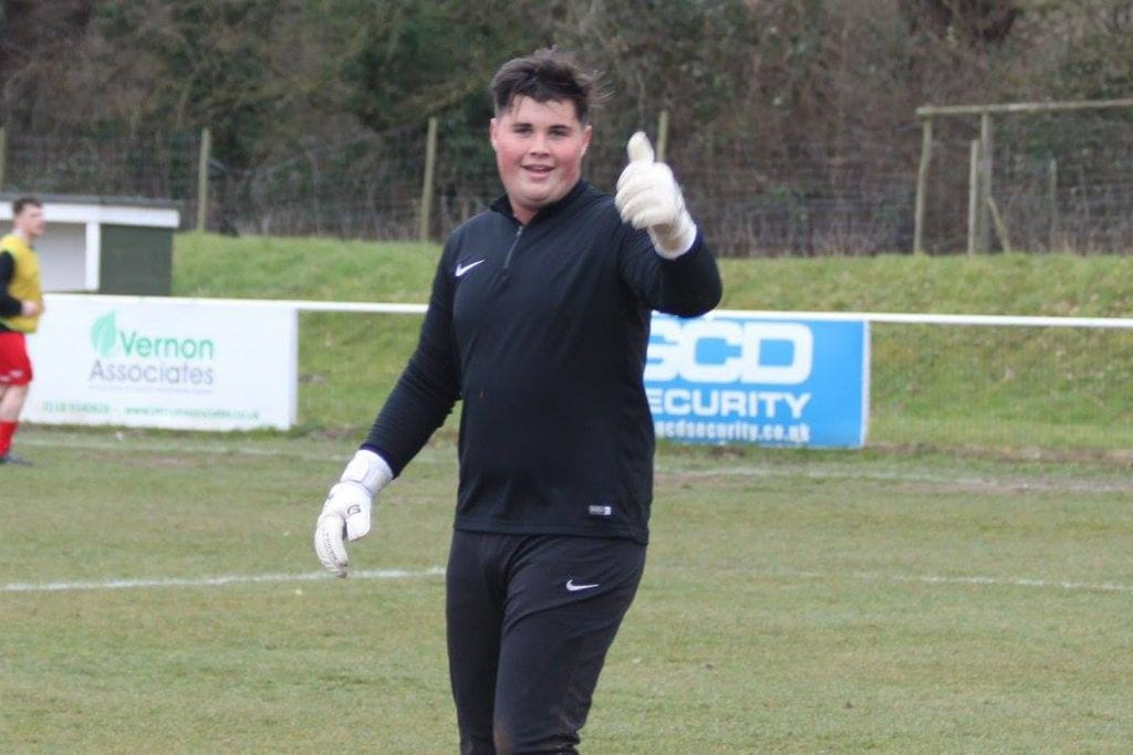 Binfield youth goalkeeper Liam Vaughan. Photo: Richard Milam.