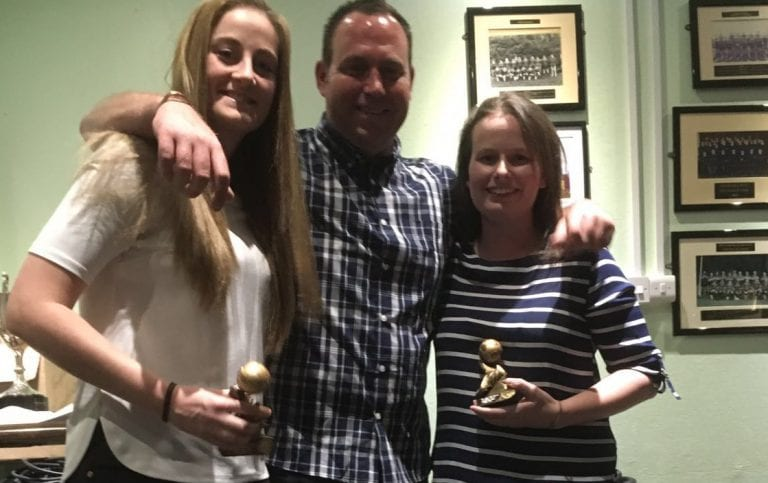 Caroline Shepherd (left) and Laura Wallman with their individual awards and manager Sean Haynes.