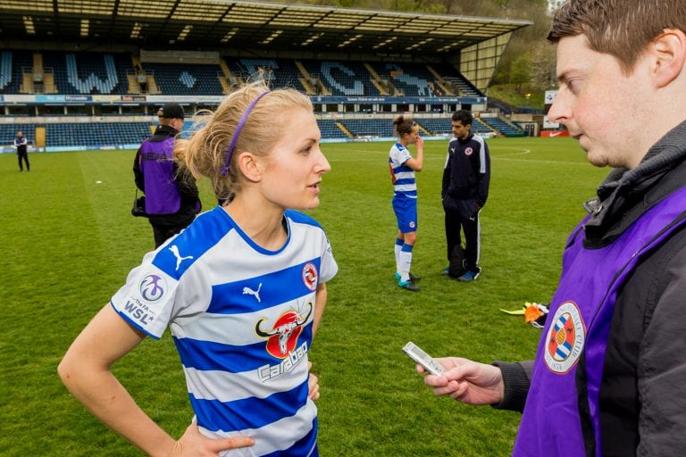 Emma Follis gives a post match interview for Reading FC Women against Sunderland Ladies. Photo: Neil Graham.