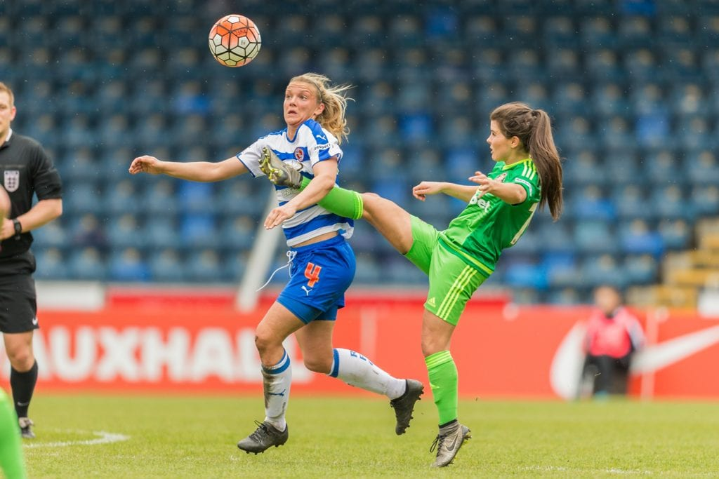 Kayleigh Hines challenges for Reading FC Women. Photo: Neil Graham.