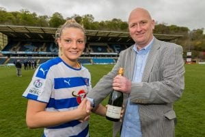 Kayleigh Hines takes the Player of the Match award. Photo: Neil Graham.