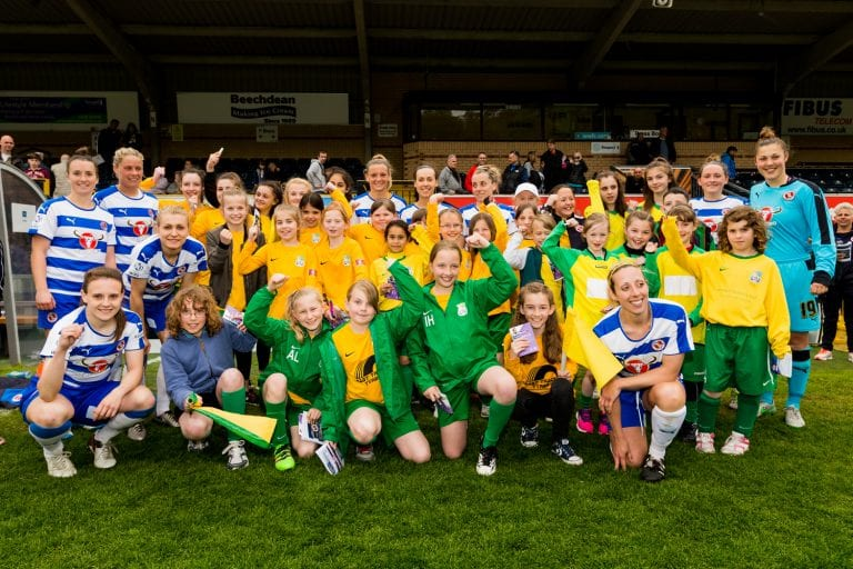 Laurel Park girls are mascots at Reading FC Women. Photo: Neil Graham.