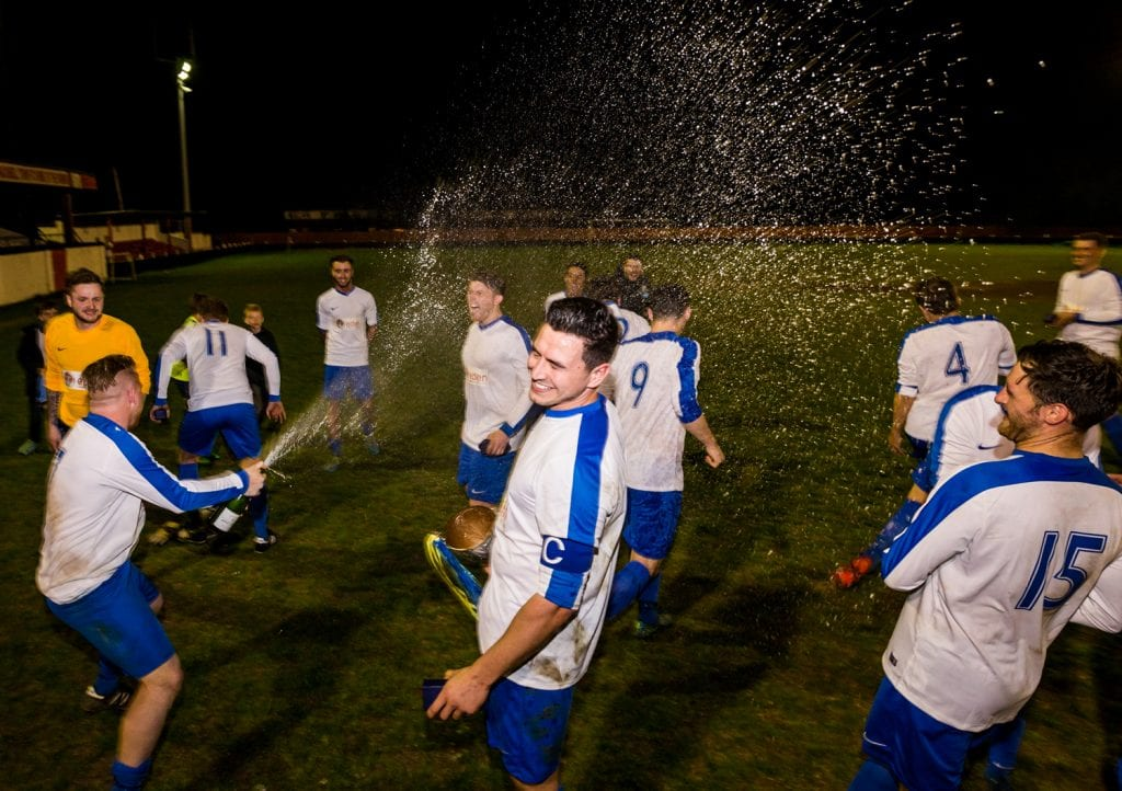 Celebrations begin for Sunningdale & Wentworth in the Bracknell Sunday League senior cup final. Photo: Neil Graham.