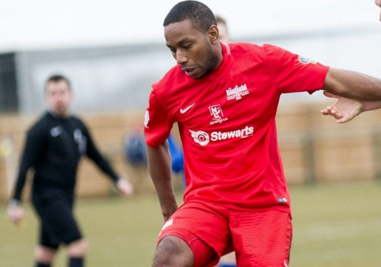 Jemel Johnson in action for Binfield FC. Photo: Colin Byers.