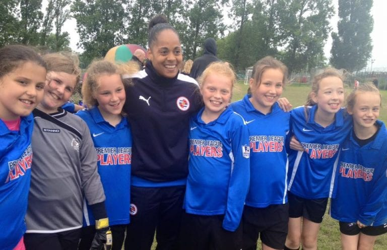 Bracknell Town girls with Jade Boho-Sayo of Reading FC Women's team. Photo: Carol Checkley.