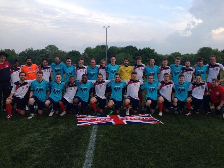The GB Deaf Team line up with the Soccer AM team including Bracknell Town's George Lock.