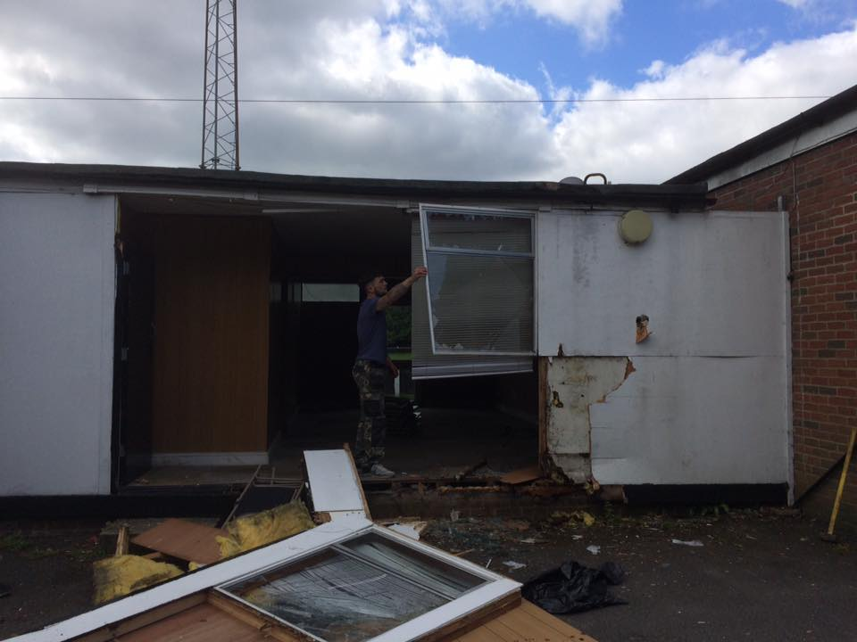 Demolition of the prefab buildings is underway at Larges Lane. Photo: facebook.com/bracknelltownfc