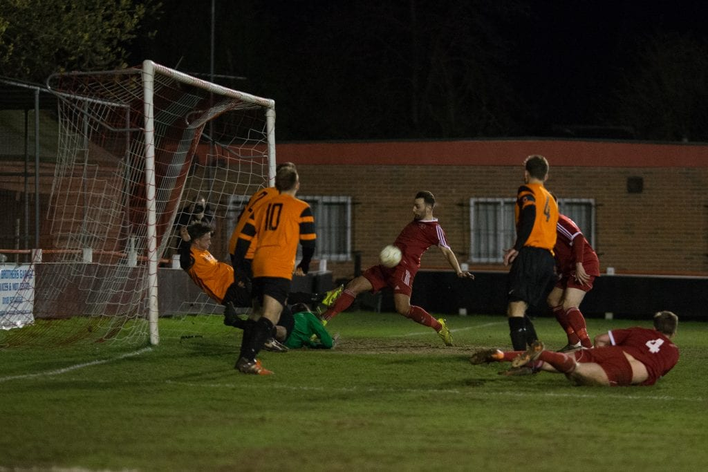 Adam Cornell for Bracknell Town against Wokingham & Emmbrook. Photo: Richard Claypole.