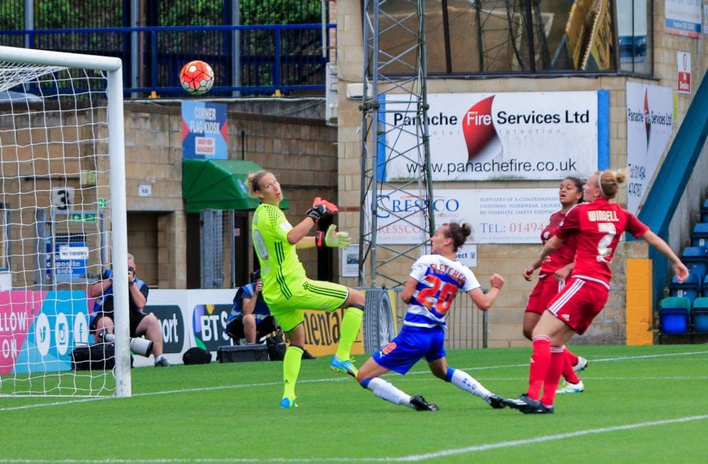 Melissa Fletcher scores for Reading FC Women. Photo: Neil Graham.