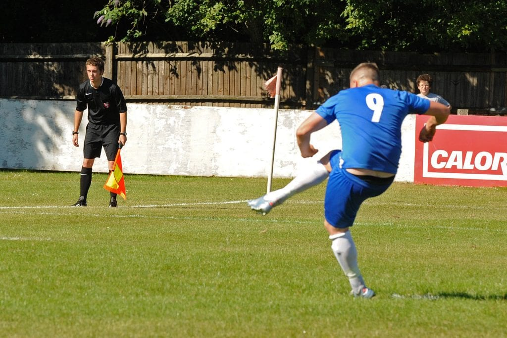 Former Bracknell Town striker Shane Cooper-Clark scores from the penalty spot to put the home side 2-1 up. Photo: Mark Pugh.