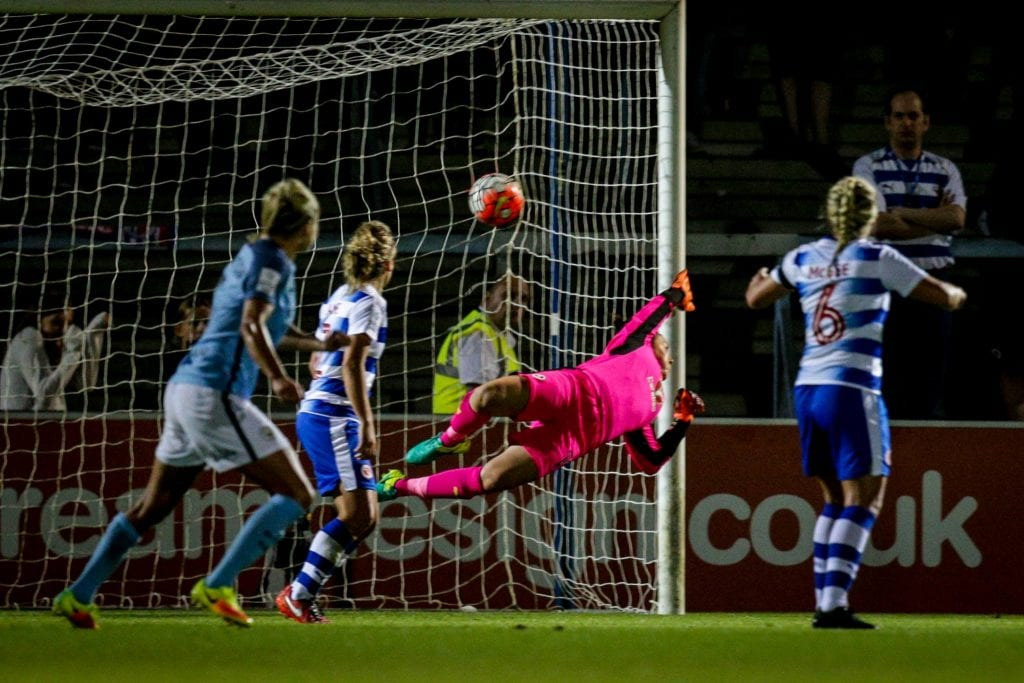 Mary Earps at full stretch for Reading FC Women against Manchester City. Photo: Neil Graham.