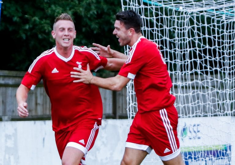 TJ Bohane scores for Bracknell Town FC. Photo: Neil Graham.
