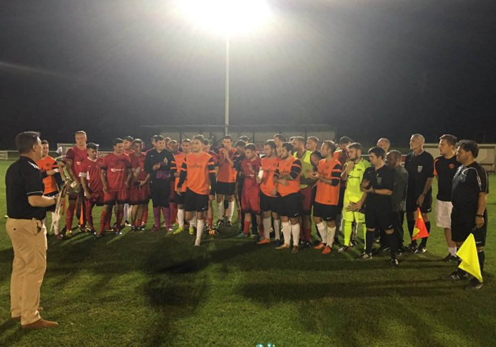 Wokingham & Emmbrook against Binfield in the 2016 Martin Joyce Memorial Trophy. Image used by permission of WEFC.