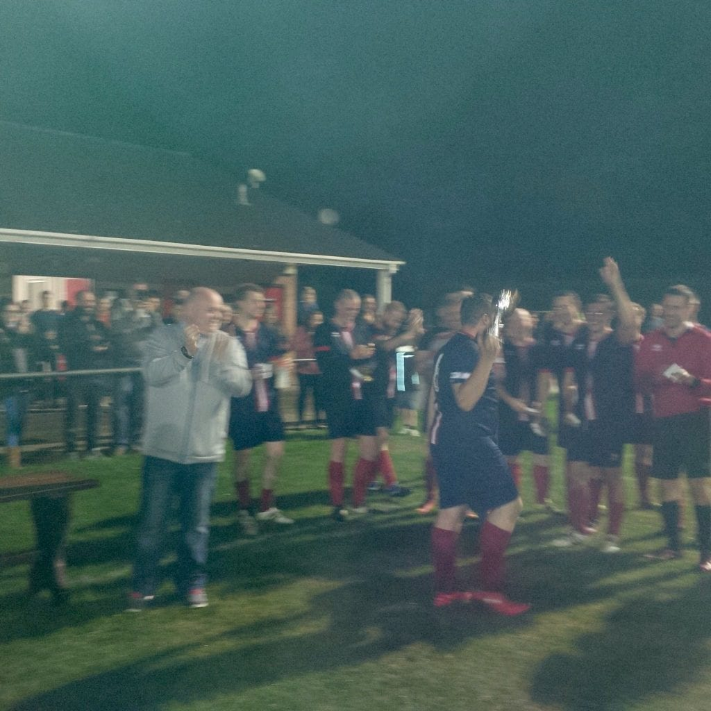 Bracknell Saint Germain celebrate with the Sunday League goals trophy. Photo: Sandhurst Town FC twitter.