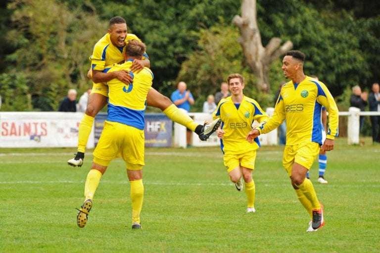 Charlie Samuels celebrates as he puts the home side on level terms keeping in the FA cup 1st round qualifier. Photo: Mark Pugh.