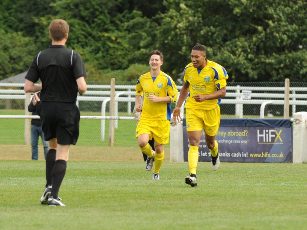 Charlies Samuel celebrates for Ascot United. Photo: Mark Pugh.