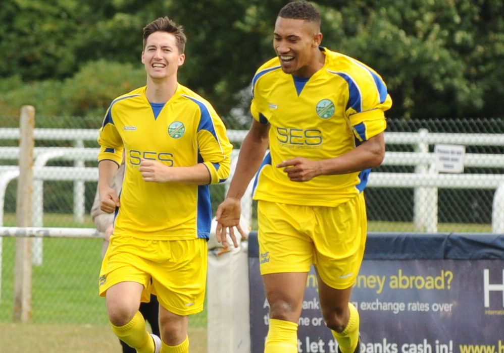 Charlies Samuels celebrates for Ascot United. Photo: Mark Pugh.
