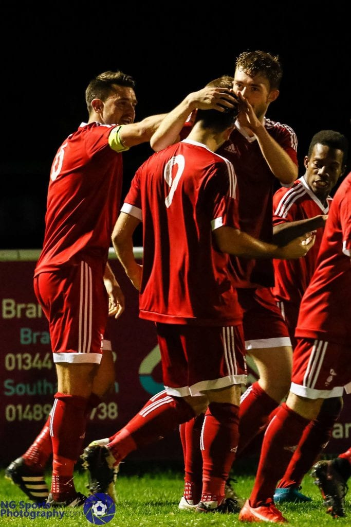 George Short celebrates scoring for Bracknell Town at Binfield FC in the FA Vase. Photo: Neil Graham.