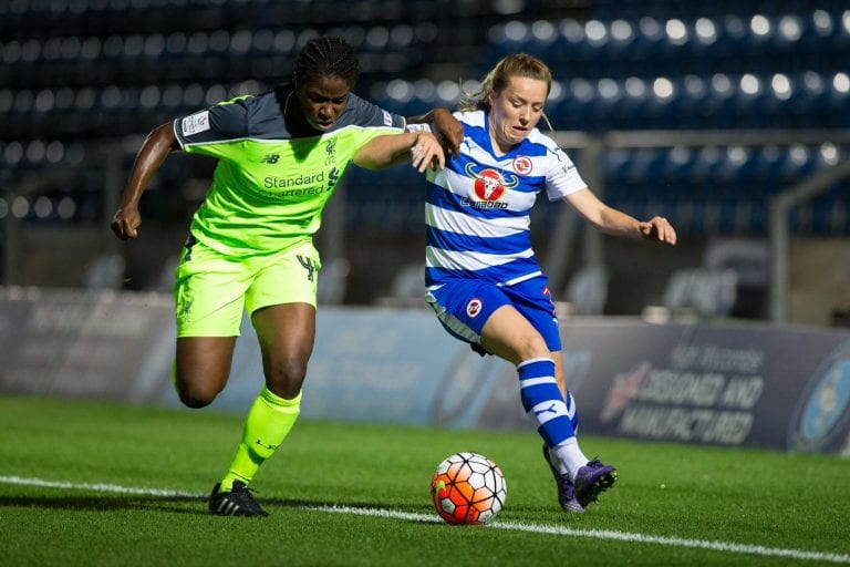 Harriett Scott for Reading FC Women against Liverpool Ladies. Photo: Richard Claypole.