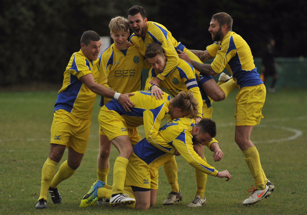 Ascot United FC celebrate winning the FA Vase First Round tie at Hollands & Blair. Photo: Mark Pugh.