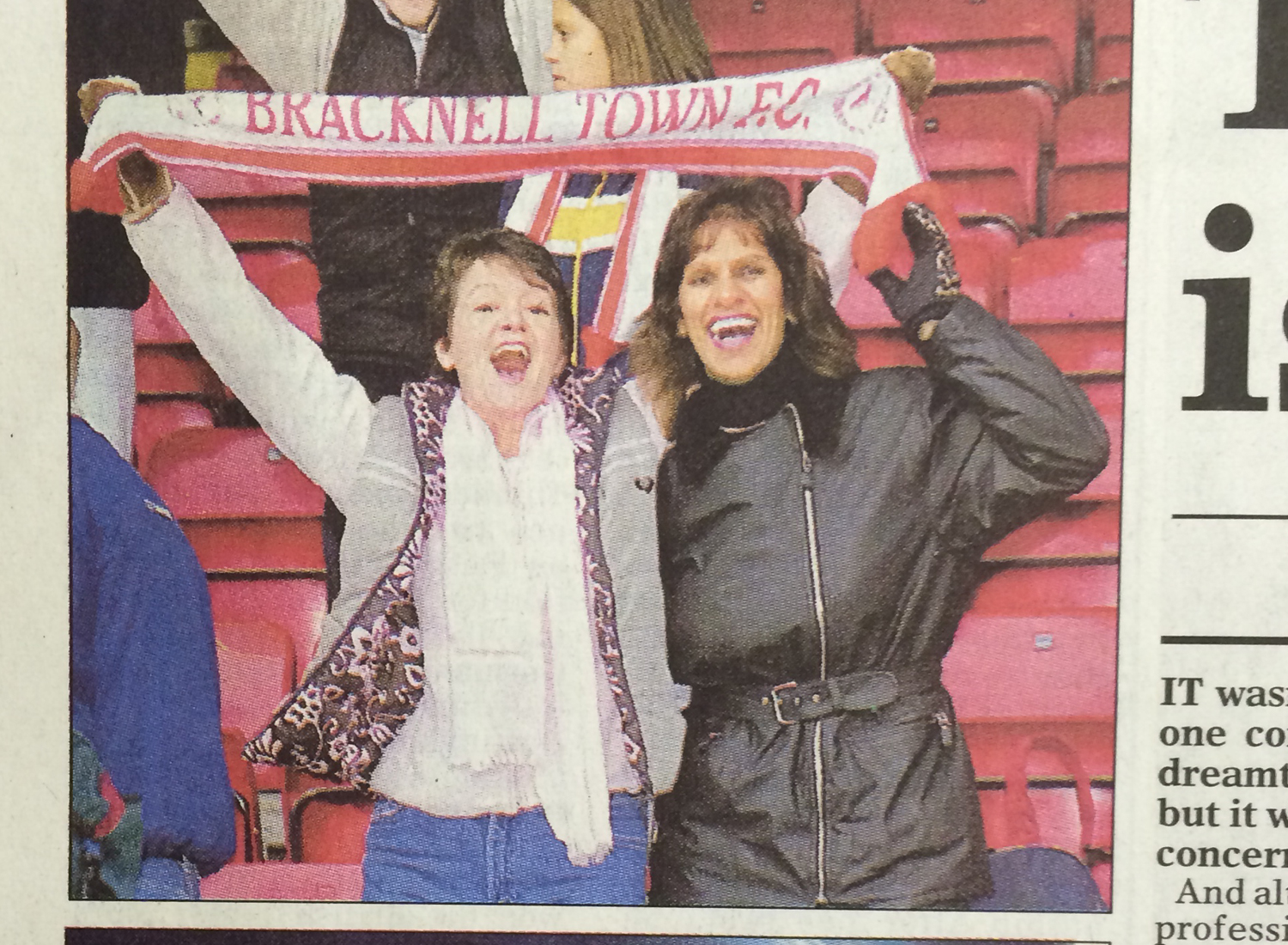 Bracknell Town supporters at Lincoln City FC for the 1999 FA Cup First Round Proper tie. Photo: Wokingham Times.