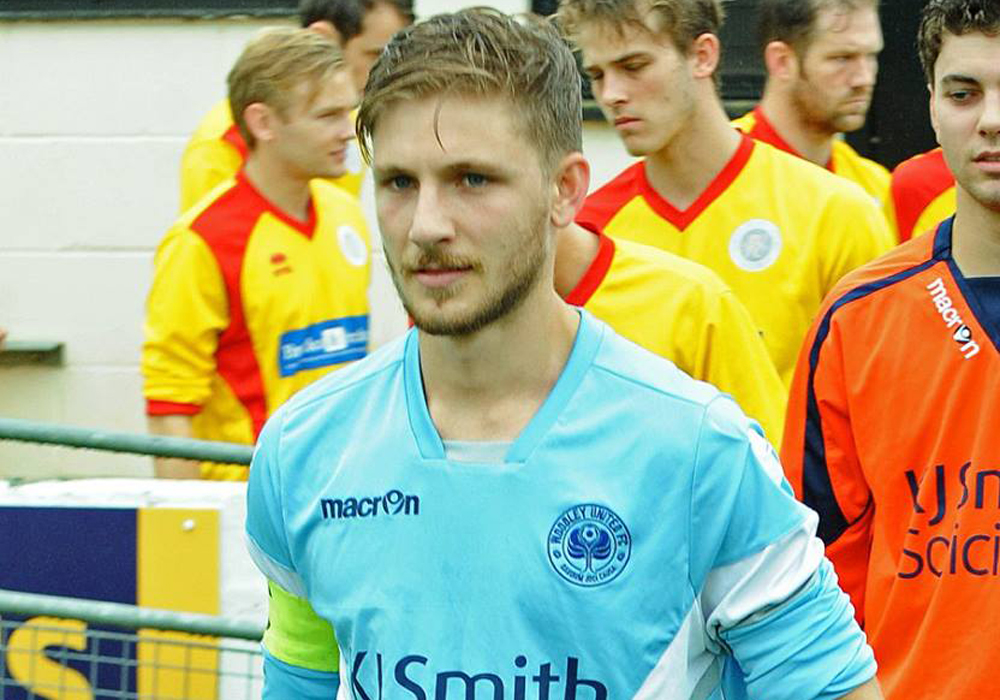 Woodley United's Charlie Oakley. Photo: Mark Pugh.