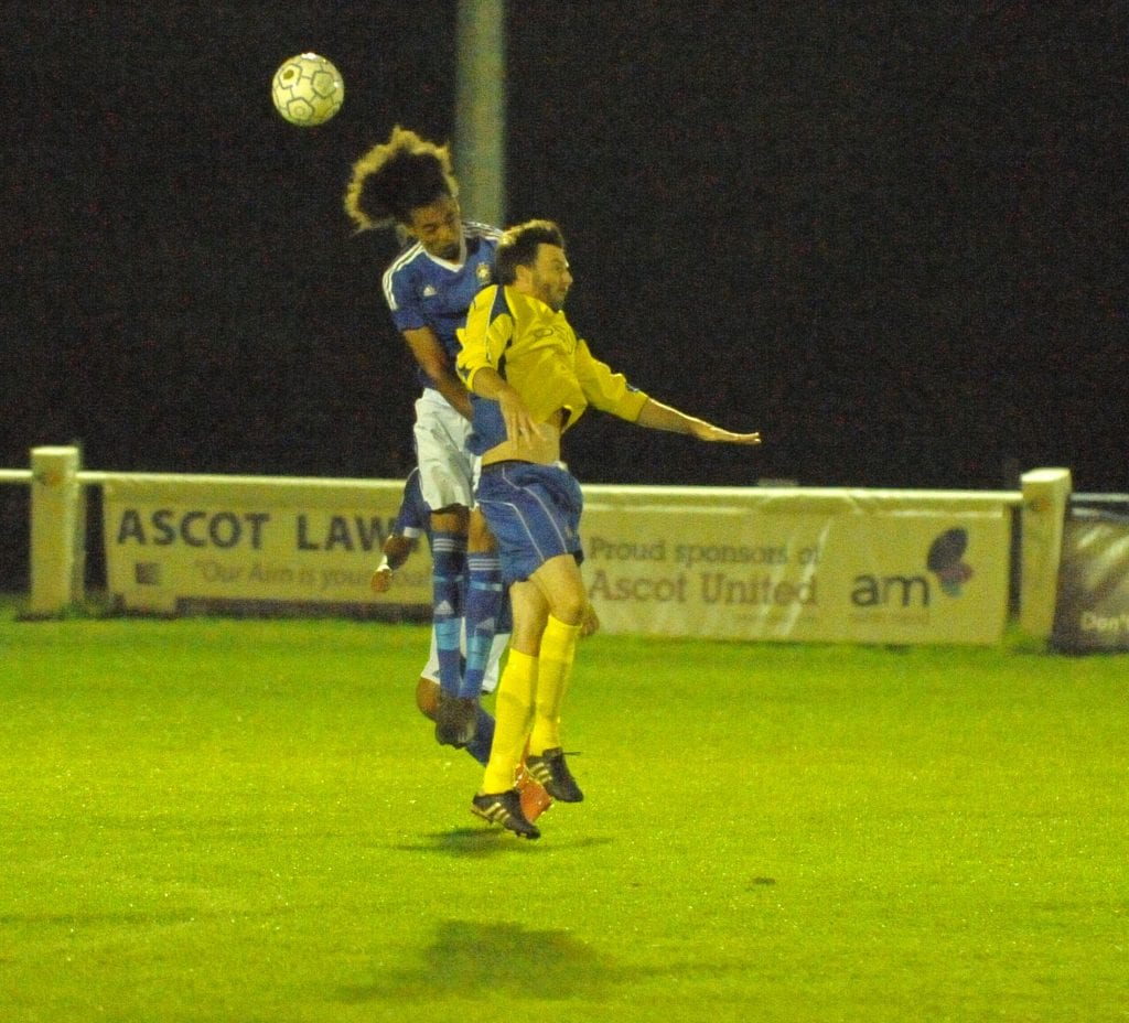 High flying hair. Ascot United FC vs Highmoor-IBIS. Photo: Mark Pugh.