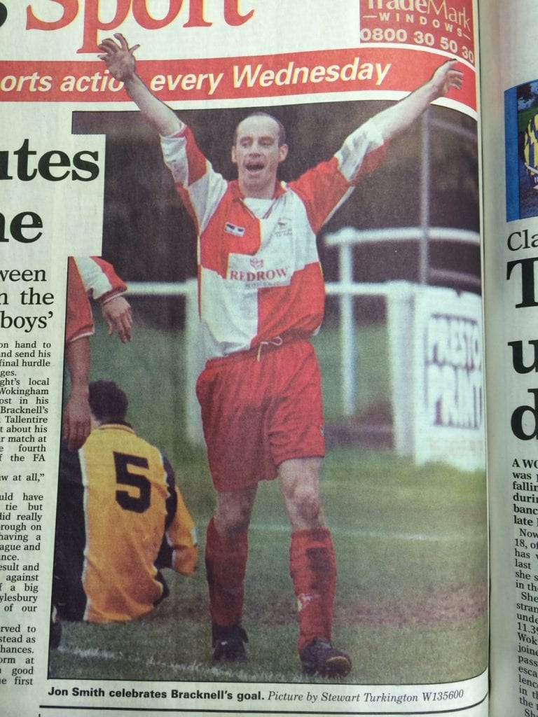John Smith celebrates scoring for Bracknell Town FC in the 1999/00 FA Cup run. Photo: Wokingham Times.