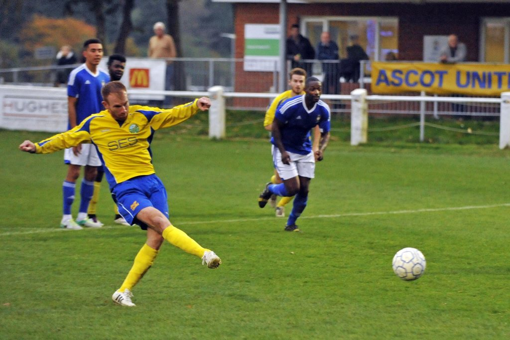 Paul Coyne scores for Ascot United from the penalty spot against Highmoor-IBIS. Photo: Mark Pugh.