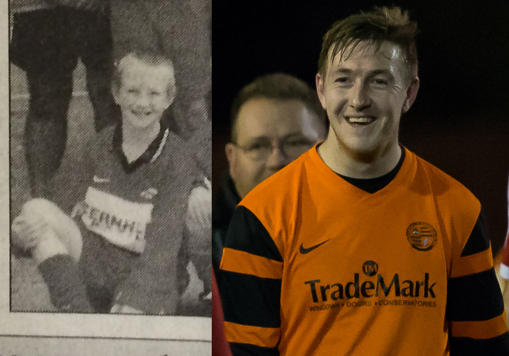 Sam Lawrence in 2000 for FC Fernhill and 2016 for Wokingham & Emmbrook. Photo: Richard Claypole and Wokingham Times.