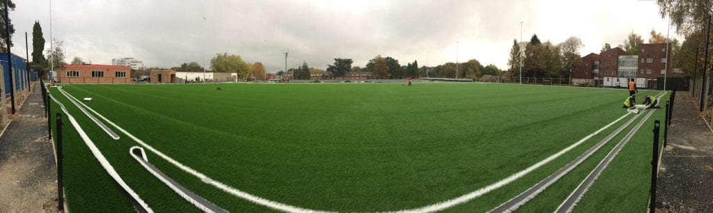The turf being laid at the Quinton Stand end of Larges Lane. Photo: @bracknelltownfc