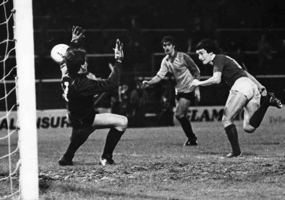 Cardiff City striker Jeff Hemmerman scores with a header against Wokingham goalkeeper Hatcher in the FA Cup. November 1982. Photo: Wales Online