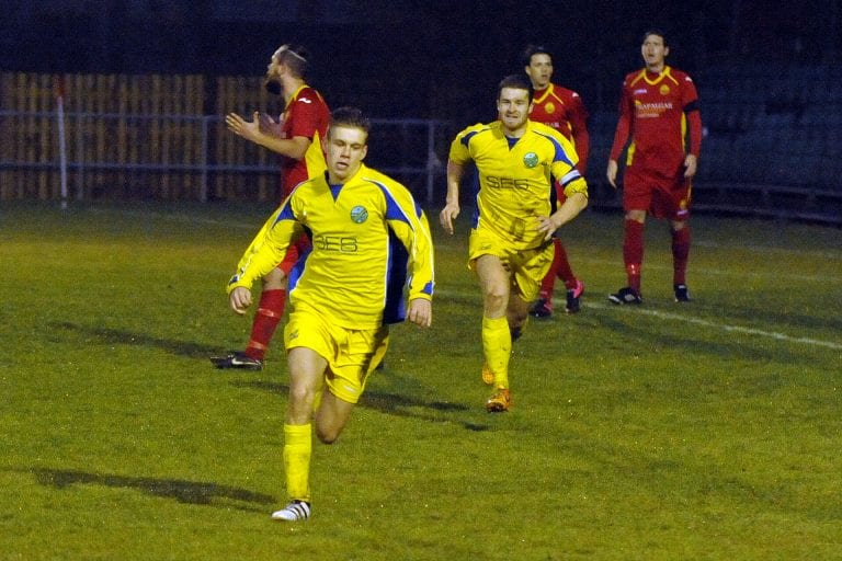 James Goodey celebrates after putting Ascot United on level terms at Newhaven in the FA Vase. Photo: Mark Pugh.