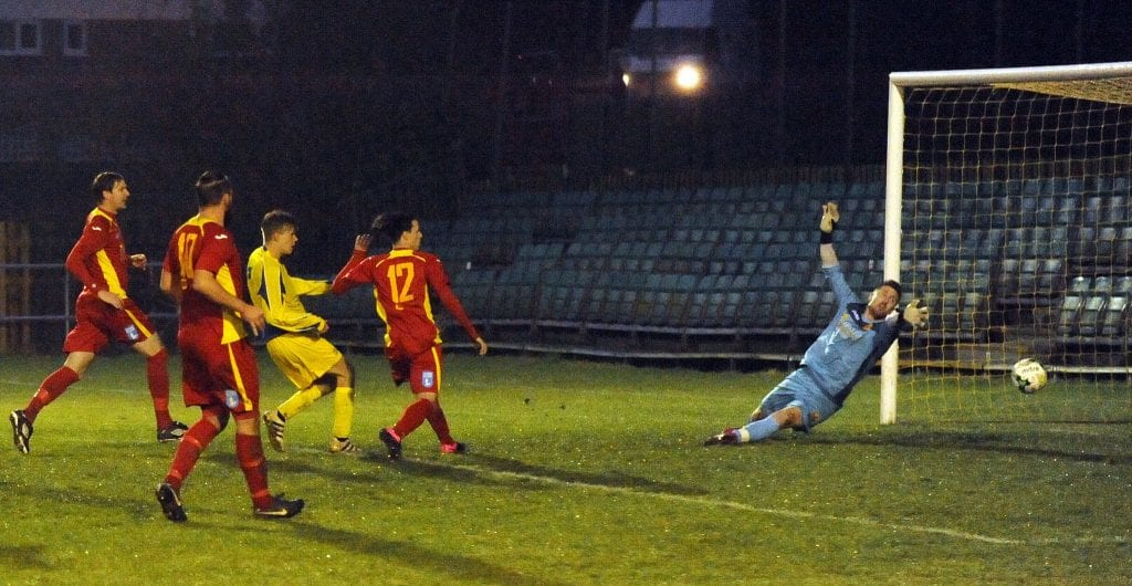 James Goodey scores for Ascot United in the FA Vase second round. Photo: Mark Pugh.