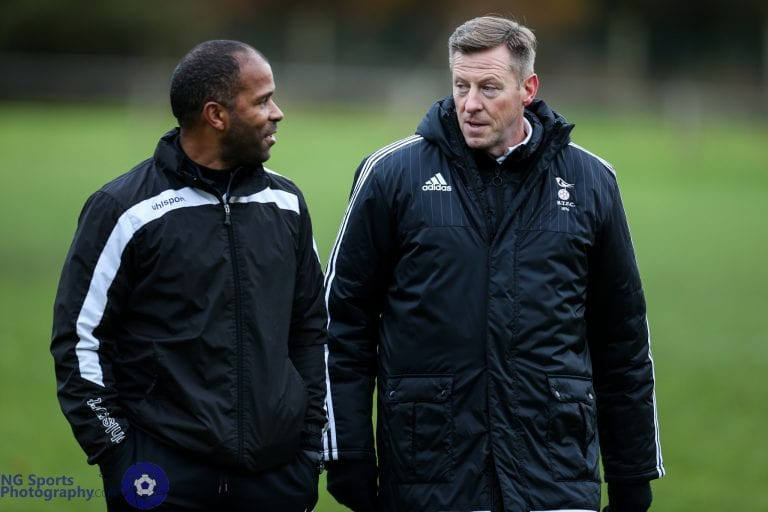 Mark Tallentire (right) pictured with Thatcham Town coach Keith Pennicott-Bowen. Photo: Neil Graham.