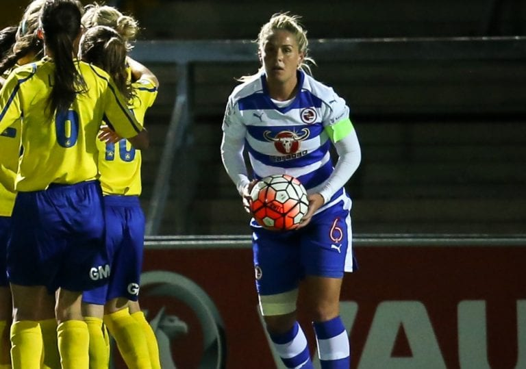 Kirsty McGee captaining Reading FC Women. Photo: Neil Graham.