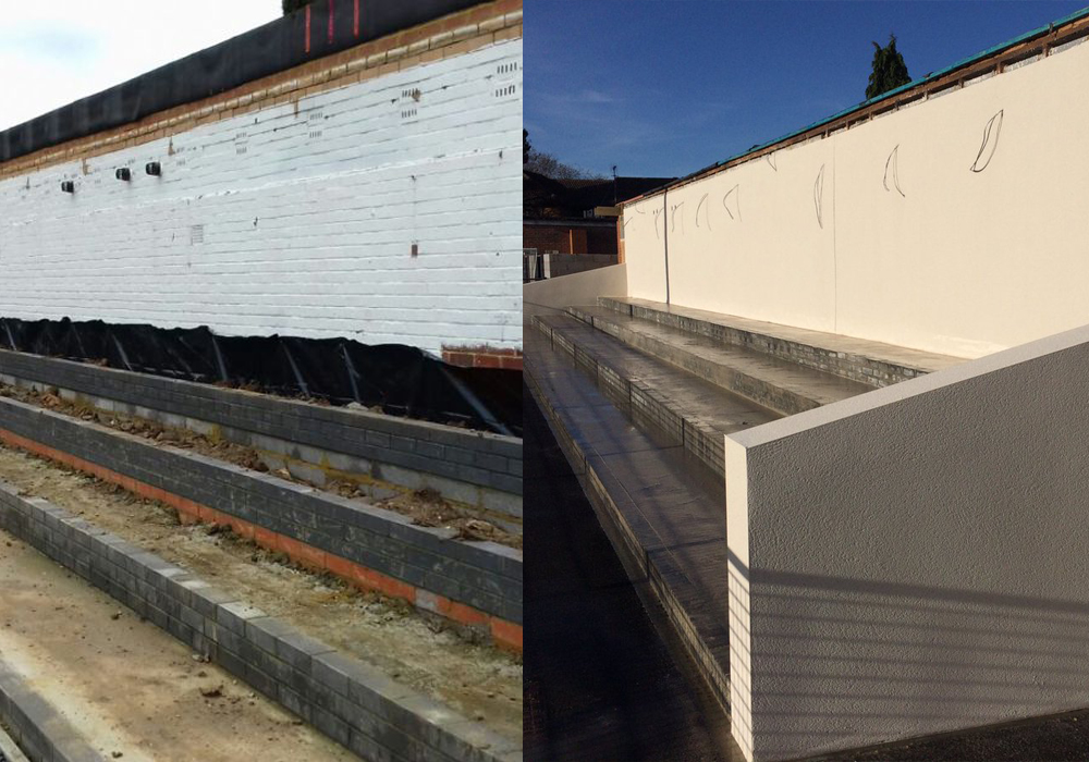 Then and now, the main stand at Larges Lane under construction.