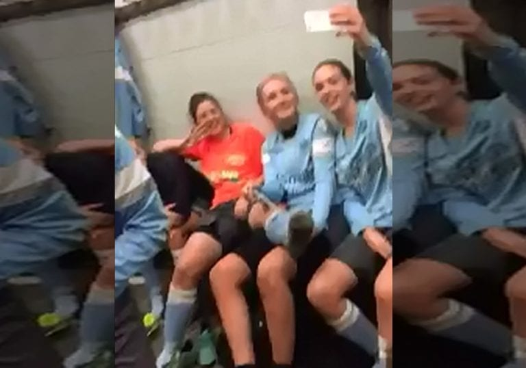 Woodley United ladies take on the mannequin challenge.