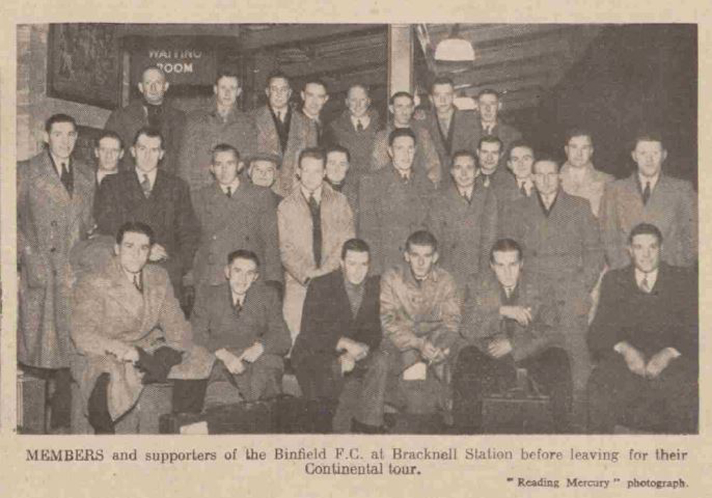 The Binfield FC team pose before their 1939 two match European tour.