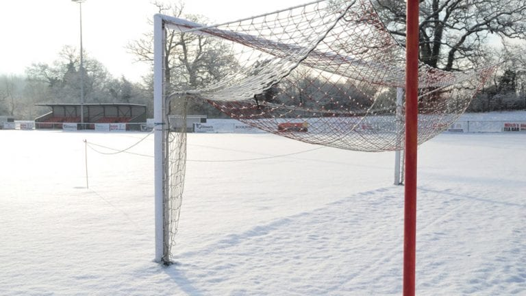 Snow covered Binfield FC. Photo: Colin Byers.