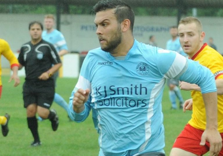 Woodley United FC winger Josh Drew. Photo: Mark Pugh.
