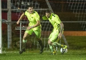 Lewis Leonetti celebrates scoring for Binfield at Longlevens. Photo: Colin Byers.