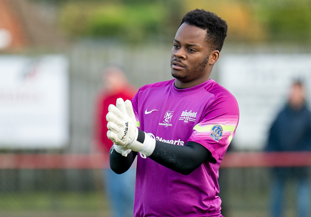 Binfield FC goalkeeper Mo Nyamunga. Photo: Colin Byers.