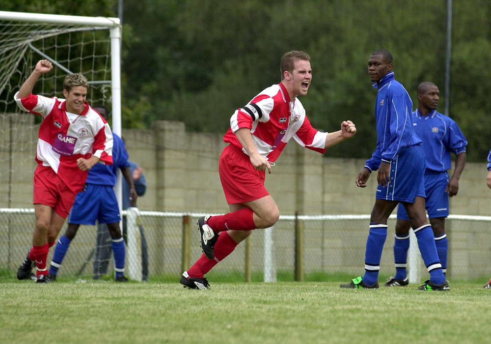 Neil Baker scores for Bracknell Town against Carshalton Athletic at Larges Lane.