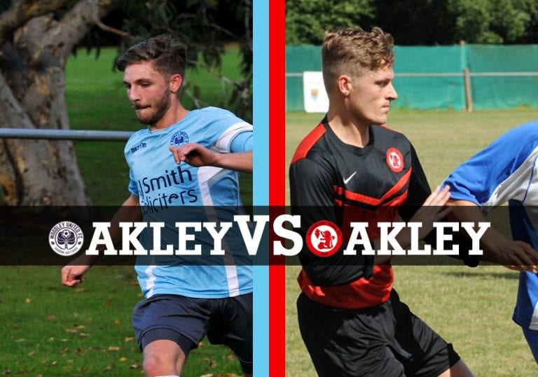 Charlie Oakley and Harry Oakley face off for Woodley United and Sandhurst Town on Saturday.