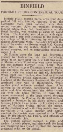 The 1939 Binfield FC tour report.