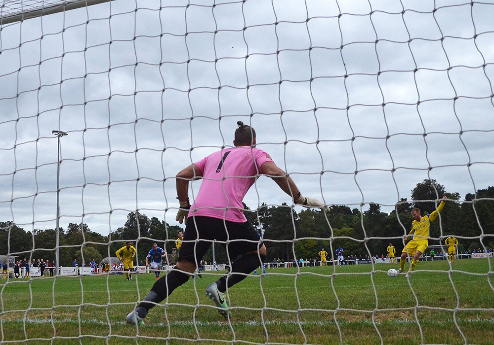 Ascot United's Paul Coyne takes a penalty against Tonbridge Angels in the FA Cup. Photo: Mark Pugh.