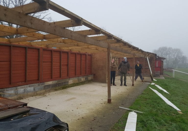 Deconstructing the 'shed' at Binfield FC. Photo: Ellis Woods.