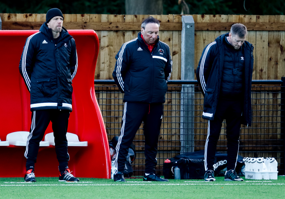 Bracknell Town's management team pay tribute to former chairman Dave Mihell. Photo: Neil Graham.